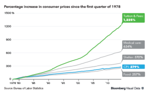 Graph representing the percentage increase in consumer goods since 1978